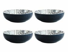 "American Atelier Stoneware Bowl Set Of 4 Multi Purpose Stackable 8.5"" Blue White"