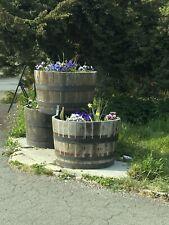 More details for half whiskey barrel oak planter wooden flower garden pot basket tubs container