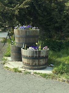 Half Whiskey Barrel Oak Planter Wooden Flower Garden Pot Basket Tubs Container