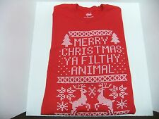 "Chill Men's ""Merry Christmas Ya Filthy Animal"" Sweatshirt, Red, X-Large"