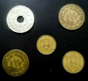 SYRIA 5 OLD ALL DIFFERENT DATES USED COINS  ( 1926-1965 )