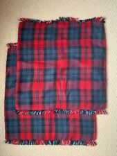 "Pottery Barn Albright Plaid Pillow Covers 20"" Black Blue White Red"