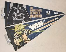 New - Lot of 2 Star Wars Milwaukee Brewers Pennants Yoda and Darth Vader