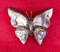 Butterfly Abalone Pin Sterling Silver Brooch Vintage Mexican Jewelry Shimmery