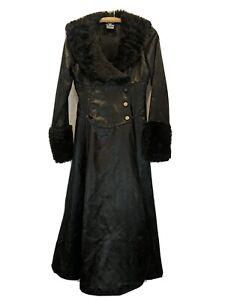 Lip Service Size M Faux Fur Trim Collar Gothic Trench Black Jacquard Read