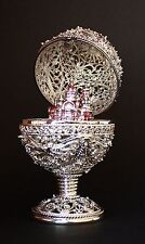 """St Petersburg Russian Faberge Egg: Silger Filigree Egg with Cathedral, 5.7"""""""