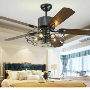52 Inch Rustic Edison Industrial Ceiling Fan With Cage Light W/ Remote Control
