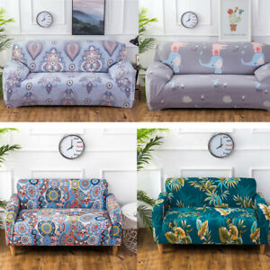 L Shaped Stretch Slipcovers Printed Elastic Armchair Couch Sofa Cover 1-4 Seater