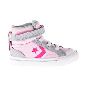 Converse Pro Blaze Strap Hi Two-Tone Leather Toddler Shoes Pink-Grey 766052C