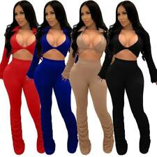 Hot Selling! Sexy 2 piece stacked pants outfits! Colors Blue, Black, Beige