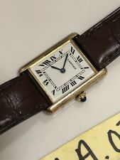 Vintage Cartier Tank Louis Vermeil Gold Plated Argent 925 Automatic 22mm Watch