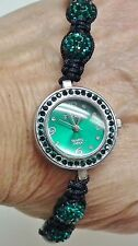 Strada Austrian Crystal Disco Ball Bracelet Watch w/Dark Blue-Green - NIB