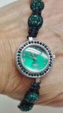 Strada Austrian Crystal Disco Ball Bracelet Watch w/Dark Blue-Green - NIB