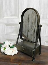 Industrial urban chic metal dressing table mirror with drawer bedroom bathroom