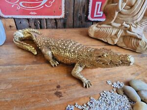 Tolle Krokodil Figur 42 cm Alligator Gold Antik Look Massiv Deko Safari Afrika