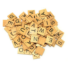 100 WOODEN TILES BOARD GAME BLACK LETTERS & NUMBERS UK SELL