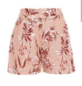 "NWT Womens Joie Farron Floral Print Linen Shorts Sz 10 2.5"" Inseam"