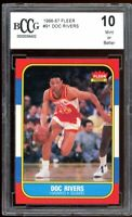 1986-87 Fleer #91 Doc Rivers Rookie Card BGS BCCG 10 Mint+
