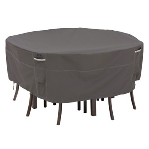 Classic Accessories Ravenna Waterproof Round Patio Table & Chair Set Cover, with
