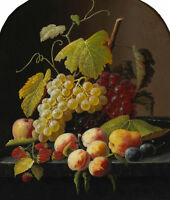 Excellent oil painting HENRI FANTIN-LATOUR still life fruits grape apple canvas