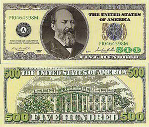 Two $500 Casino Style Poker Night Novelty Currency Bills # 226