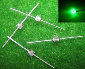 LED15G 50pcs Water Clear Miniatronics 1.5mm Green Led & Free Resistors NEW