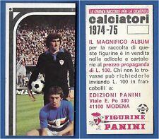 TERNANA-Recuperata PANINI CALCIATORI 1974-75 Figurina n.450 SQUADRA//TEAM 1//8