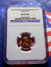 """1963-D LINCOLN MEMORIAL CENT - NGC  MS 66 RD - BRIGHT RED GEM - """"VERY RARE"""""""
