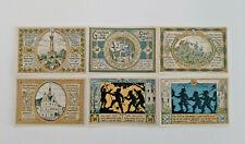 COLDITZ NOTGELD 6x 50 PFENNIG 1921 NOTGELDSCHEINE (11640)