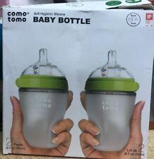 ComoTomo Baby Bottles, Medium Flow, Green, 8oz, 2 Pack Used, No Box