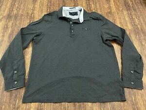 Ted Baker Men's Gray Long Sleeve Polo Shirt - Size 5 or XL
