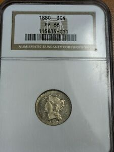1880 Three Cent Nickel 3CN NGC Proof PF 66 RARE LOW MINTAGE