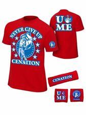 John Cena Boys Red Cenation Kids WWE Costume T-shirt Wristbands