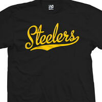 Steelers Script & Tail T-Shirt - Baseball Style Text Football All Sizes & Colors