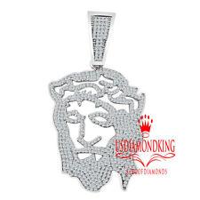 Jesus Face 00006000  Head Charm Pendant 26 Grams Men's Solid Silver 10k White Gold Finish