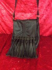 Wearhouse Genuine Leather Tassled Fringed Bag Across Body Biker, Hippy, Festival