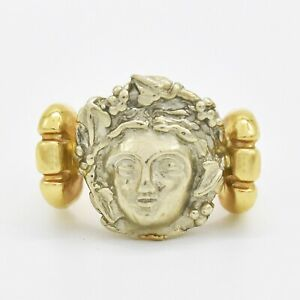 14k Yellow & White Gold Estate Carved Face Ring Size 6.75