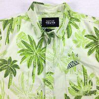Native Youth Hawaiian Shirt Mens size MEDIUM Island Palm Pineapple Surfer Beach