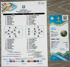 More details for turkey v italy - official uefa team sheet & match ticket - euro 2020 - match 1