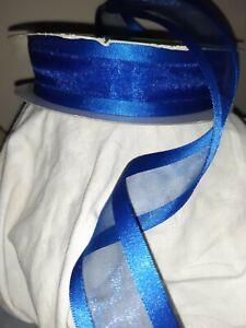 5m ROYAL BLUE Edgey & Elegant Organza Smooth Satin Edge Luxury Wire Edged Ribbon