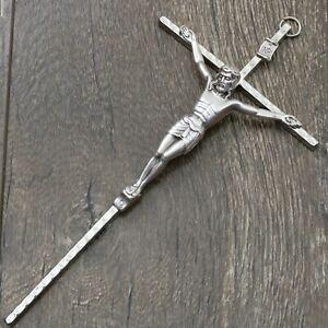 "Crucifix 8"" Wall Cross Nickel Christ Silver Oxidized Crucifijo Catholic Cruz"