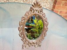 VINTAGE METAL FRAMED OVAL TABLE MIRROR CAST IRON