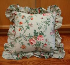 Ralph Lauren Toulouse Green Floral Roses Square Ruffled Throw Pillow
