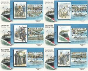 ALDERNEY 2001 GARRISON ISLAND PART V ALL 6 COMPLETE PANES ON 6 FIRST DAY COVERS
