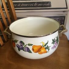 Tabletops unlimited Essence Enameled Pot With Brass Handles 4 Quart Round Fruit
