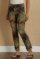 SOFT SURROUNDINGS In Bloom Pants Pull On Black Colorful Floral Print Modern S