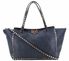 Valentino Blue Denim Leather Rockstud Medium Trapeze Tote Bag