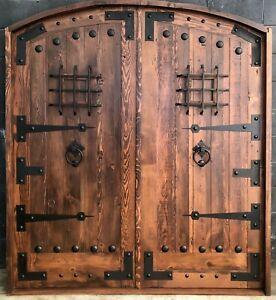 Rustic reclaimed solid lumber Double door wine room castle storybook w/ hardware