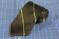 Joseph Abboud Men's Tie Brown & Green Striped Woven Silk Neck 60 x 3.5 in.