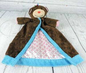 """Mud Pie Brown Monkey Lovey 14"""" Security Blanket Nunu Minkie Mudpie Unisex Baby"""